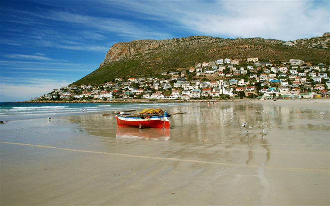 Trek boat on Fish Hoek beach