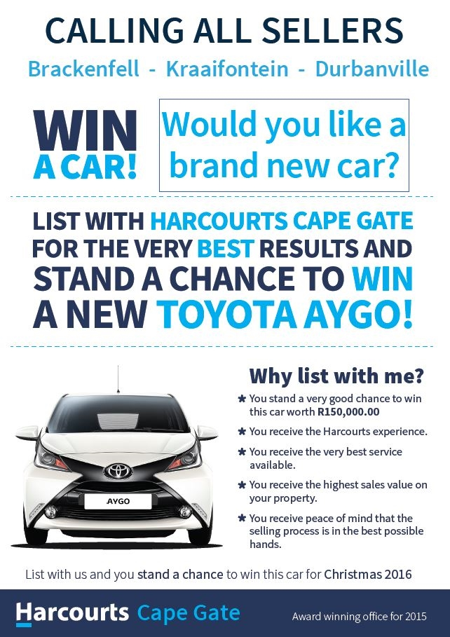 Win a Car with Harcourts Cape Gate