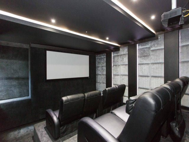 Cinema with comfortable leather chairs