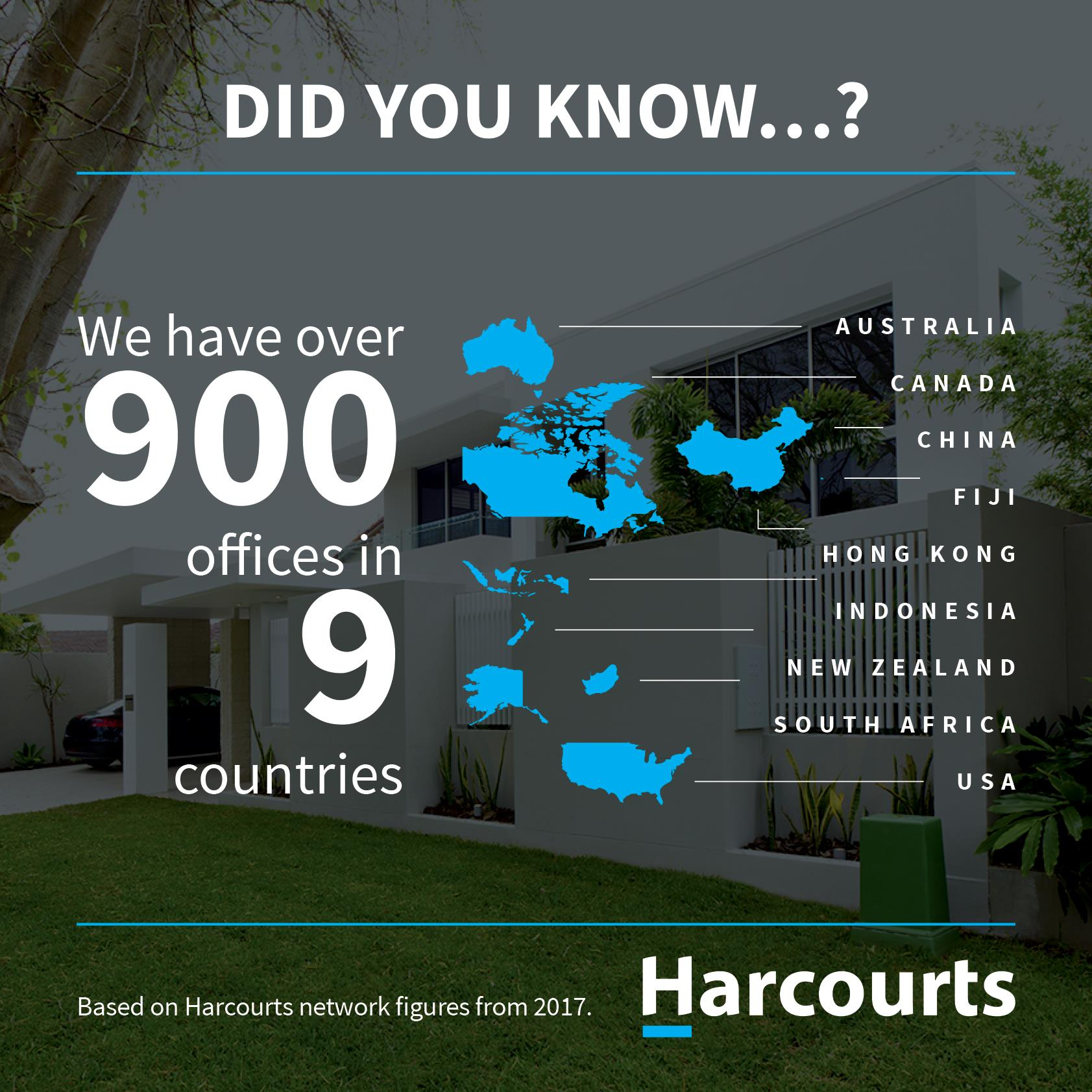 Harcourts have over 900 offices in 9 countries