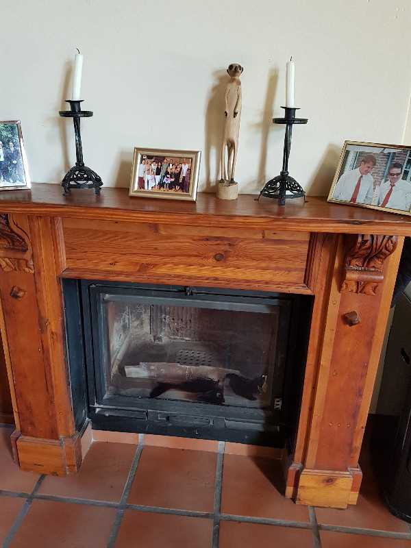 Closed fireplace in lounge and dining room