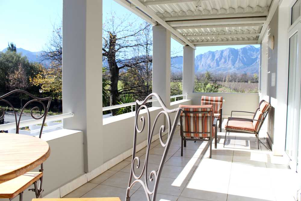 Patio with views from all three upstairs bedrooms