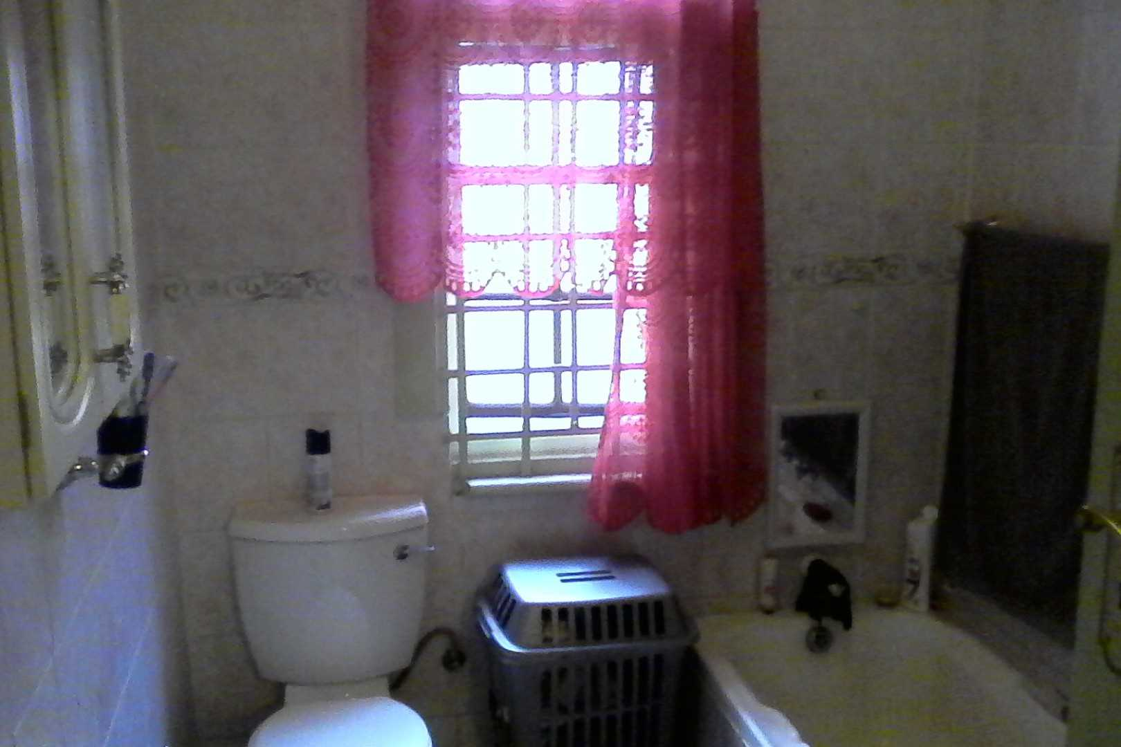 Kitchen with toilet, basin, bath, separate shower
