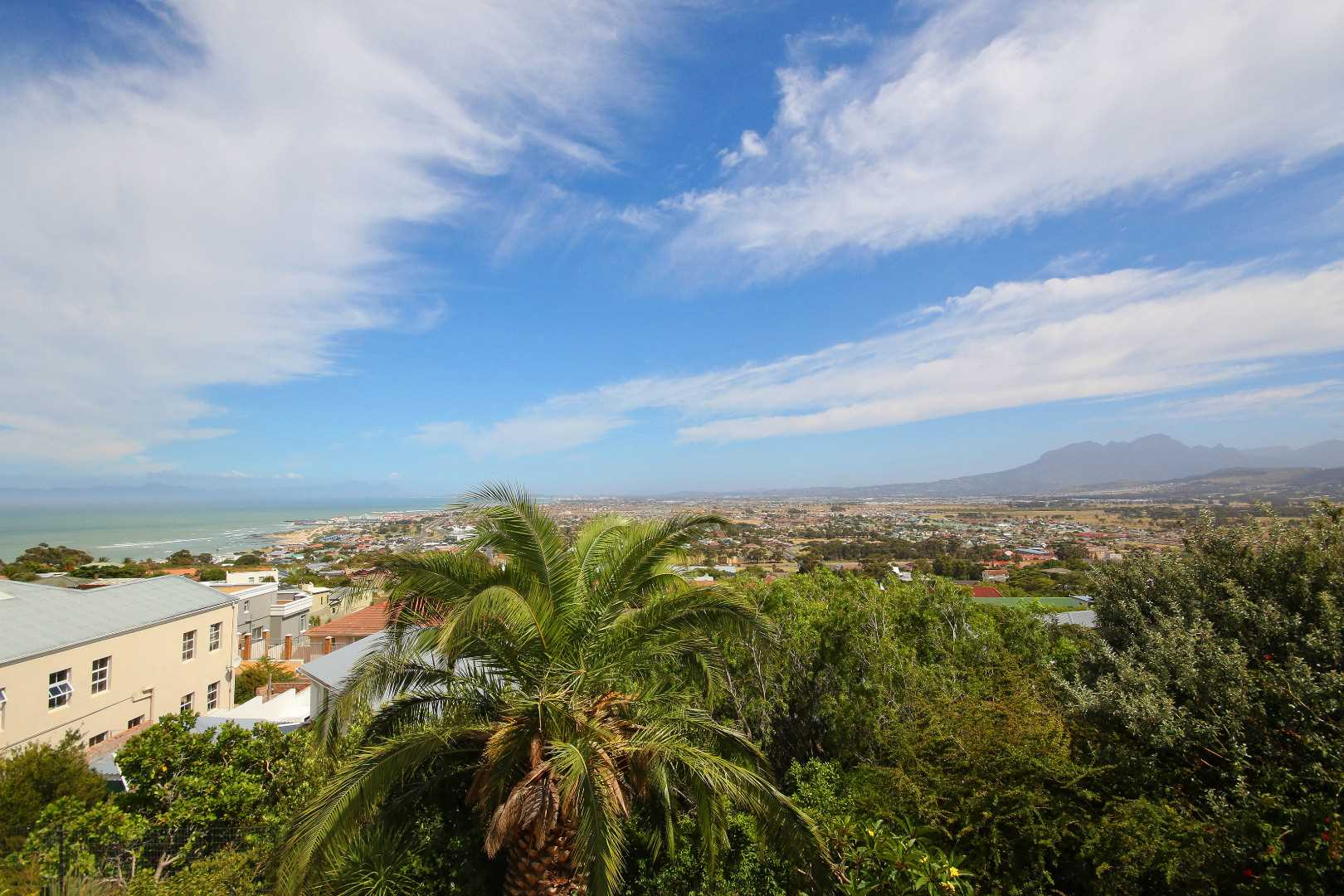 Forward view over Gordon's Bay town and Helderberg Mountain in Somerset West