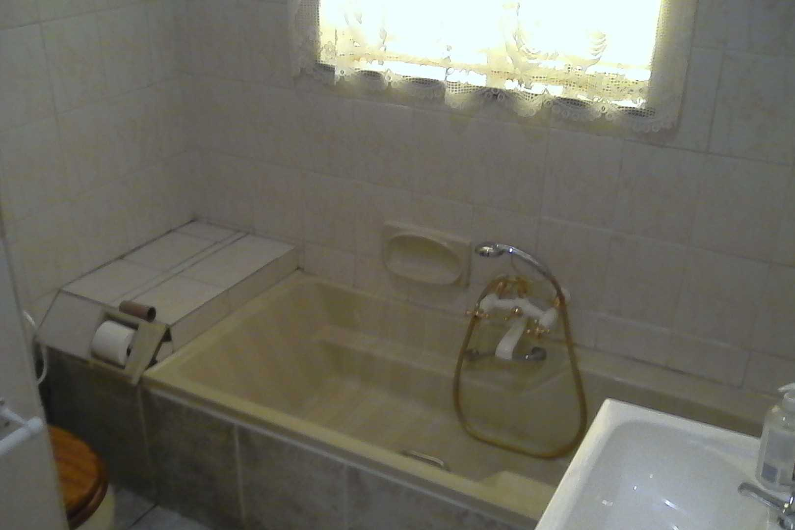 Main bathroom with bath, toilet, basin & shower