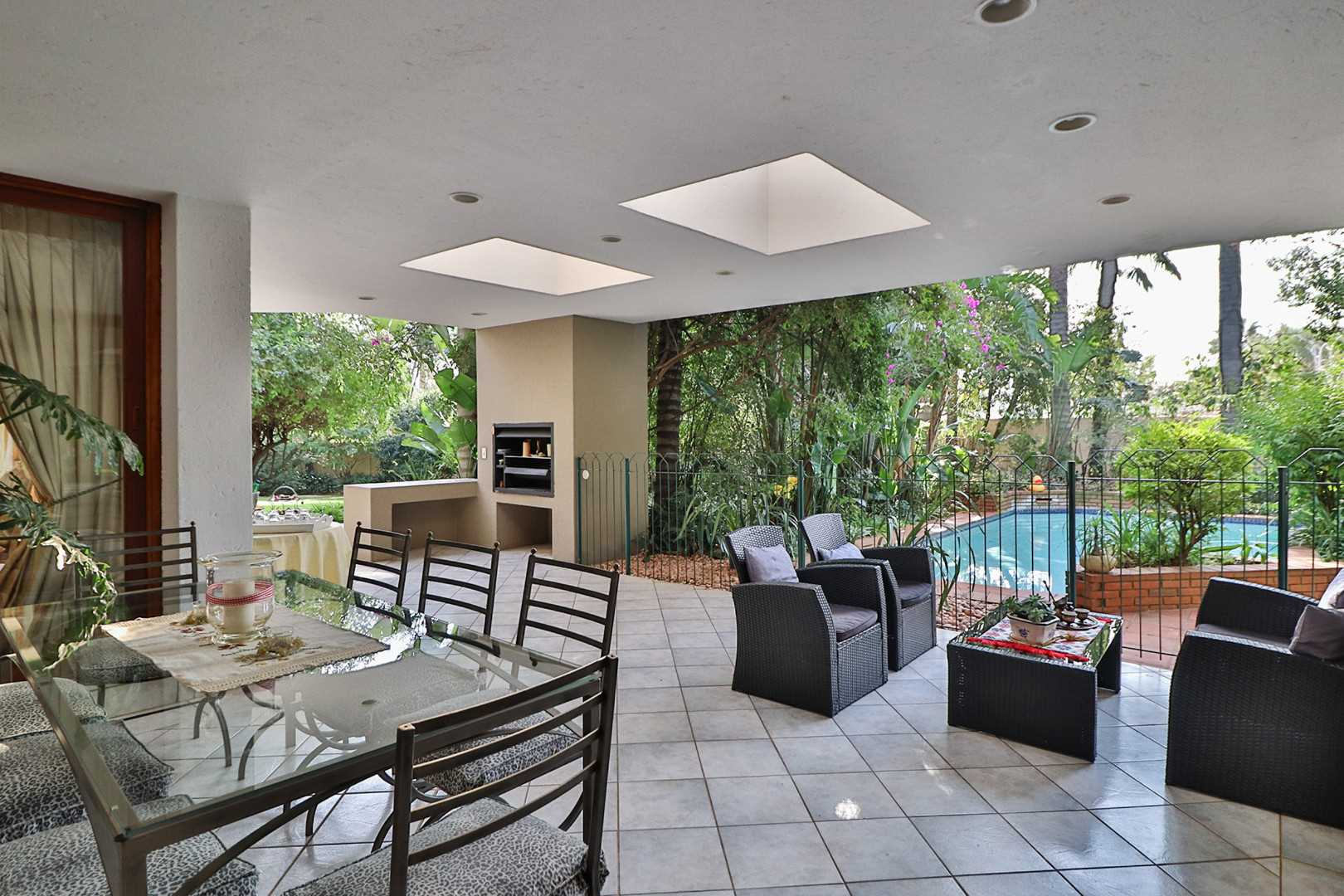 North facing patio with built in braai