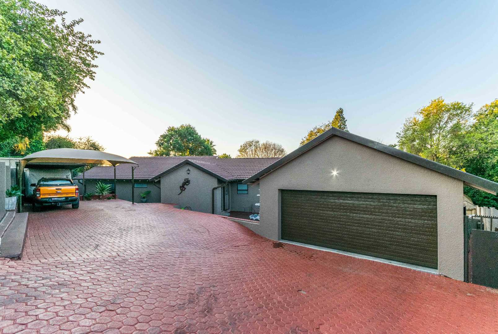 Road side of 12 Kransberg showing Double garage and Double Carport plus plenty extra secure parking