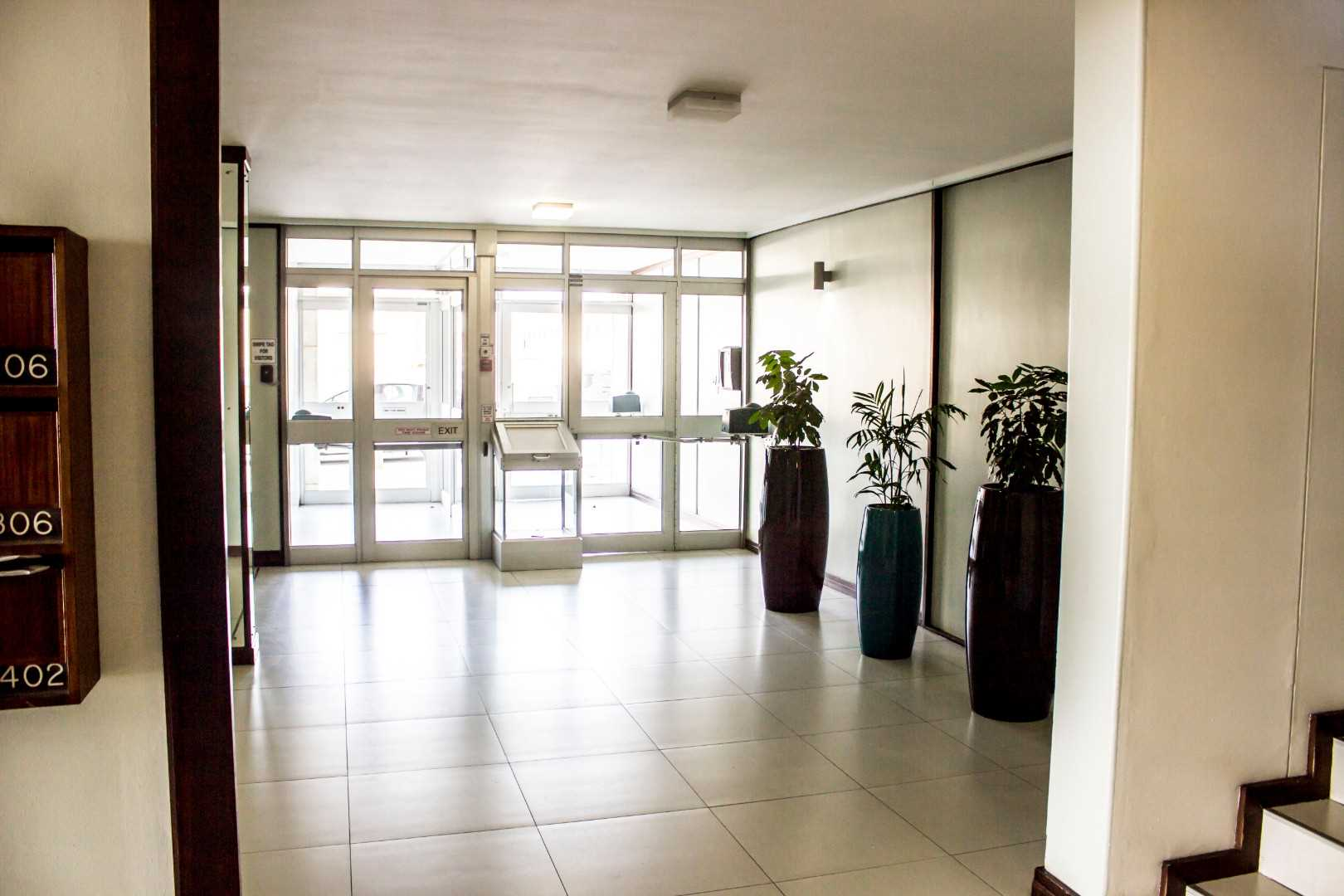 Foyer at Marine Towers with bio-metric finger print security access.