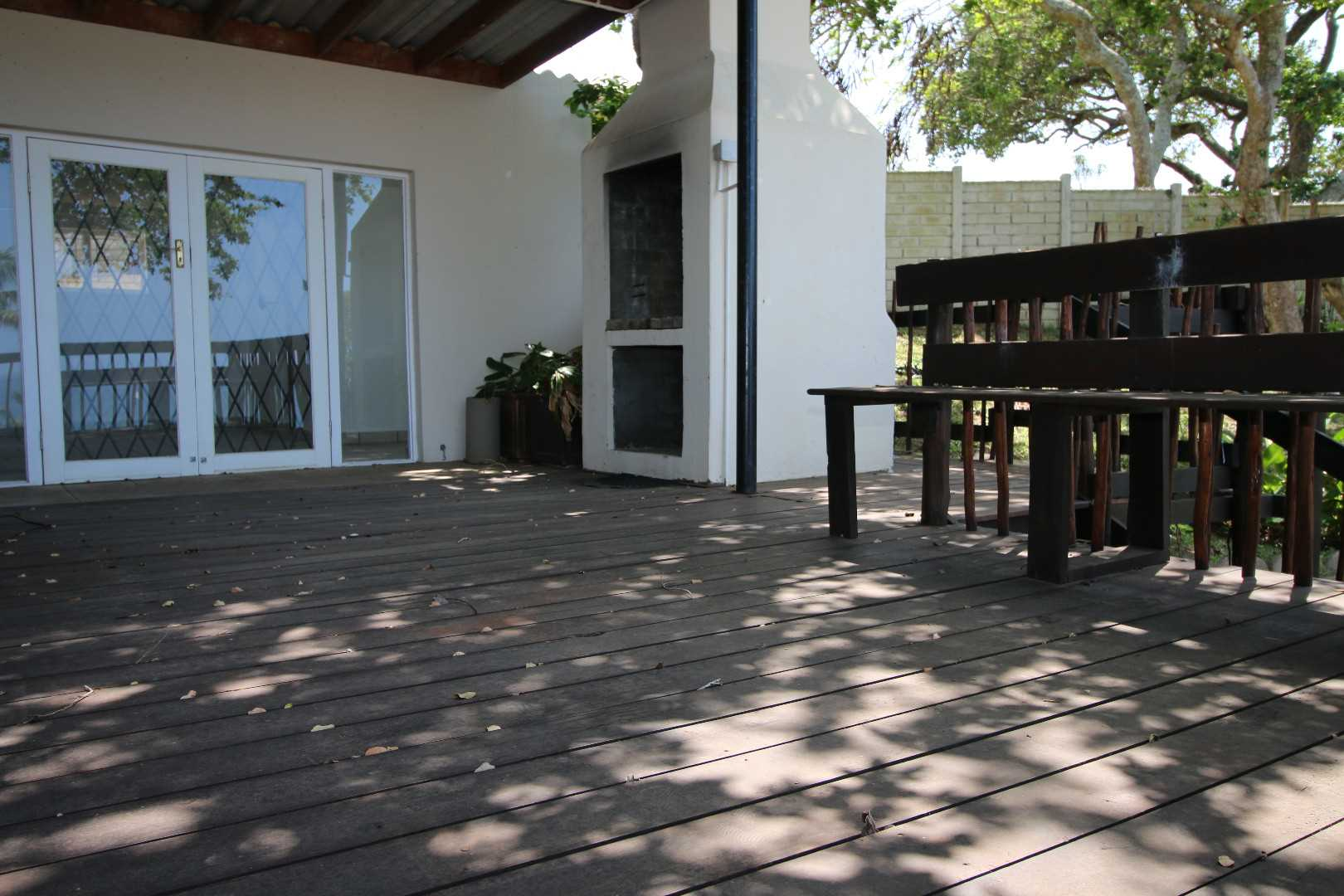 Deck with built in braai and lots of storage space