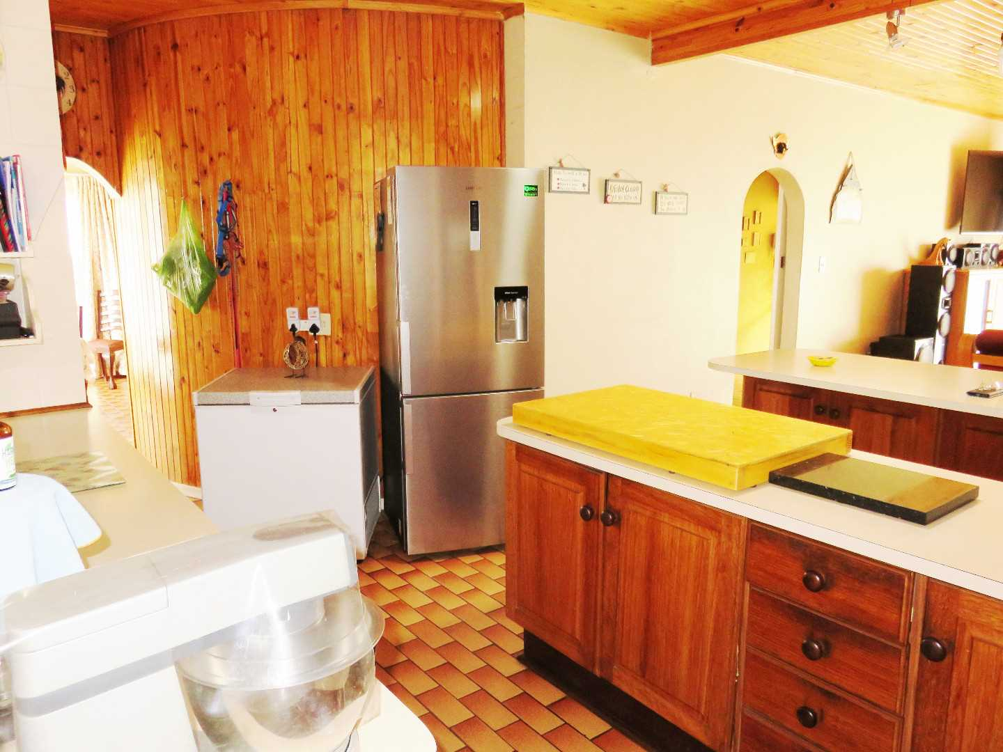 kitchen with pantry & dining room to left